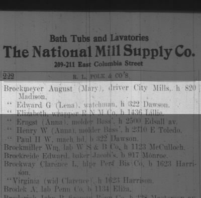 Brockmeyer, August & Mary, 1913 city directory