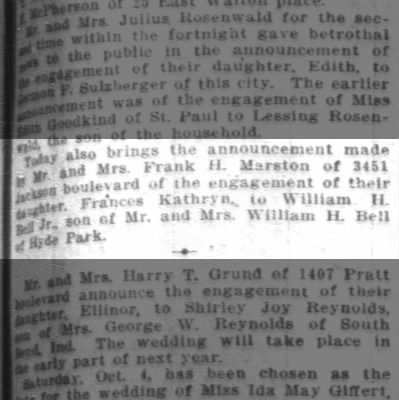 Frank H Marston annouces engagement  son William H Bell Jr to Frances Bell