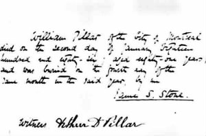 William Pillar Death 1885
