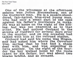 Julian as a witness at the haywood Trial c 1907