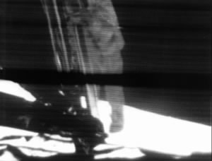 Neil Armstrong on the Lunar Module Ladder