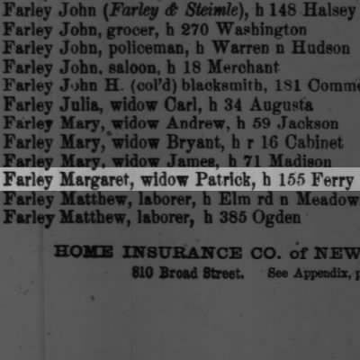 Farley Margaret, widow Patrick, h 155 Ferry