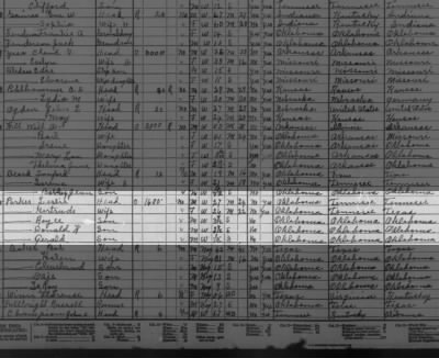 1930 Census which includes the Les Parker Family in Oklahoma