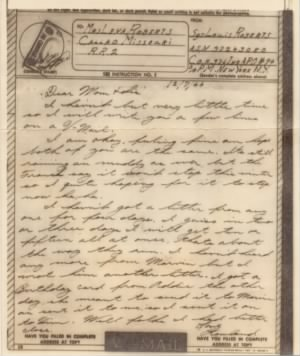Roberts, Louis R: V-Mail sent home to his mom & sis