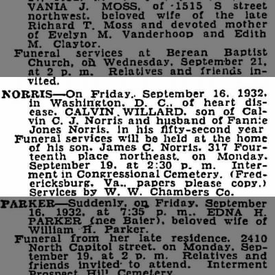 Calvin Willard NORRIS, death notice 1932, Washington Post newspaper.