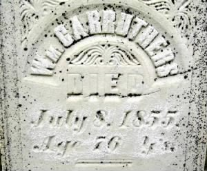 William Carruthers'  grave 1855