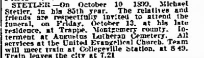 STETLER death notice sent to me from Dean THOMSON. PA, 1899.
