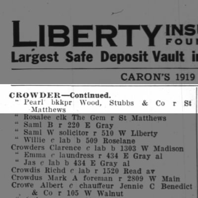 1919 Louisville City Directory - Pearl Crowder
