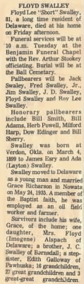 "Floyd Lee ""Short"" Swally Obituary"