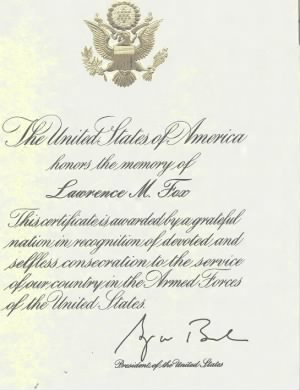 united states of AMERICAN honors Lawrrence m fox.jpg