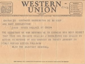 War Department Telegram - PVT William J. Duddleston