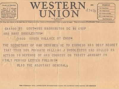 War Department Telegram - PVT William J. Duddleston - Fold3.com