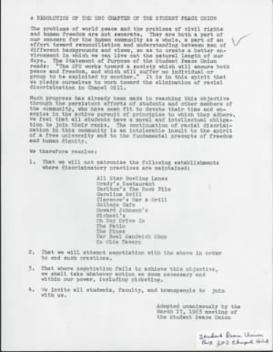 A Resolution of the UNC Chapter of the Student Peace Union - 17 March 1963