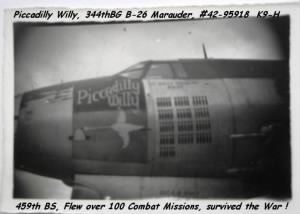 Piccadilly Willy B-26 of the 344th Bomb Group out of England