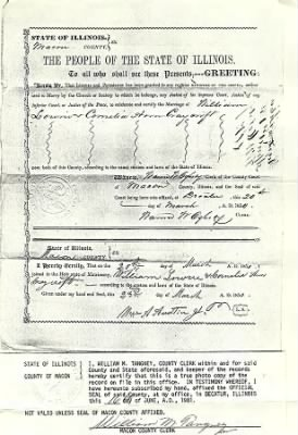 William A. Lowrie and Cornelia Ann Craycroft marriage certificate