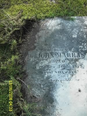 Gravestone of Dr. John Marrast
