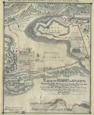 Plan of the redoubt and rifle pits ensilading [sic] the Leesburg and Fairfax turnpikes 2 miles from Alexandria, Virginia. Built by the 38th, 40th N.Y. and 3rd Maine regiments during October and November 1861. Planned and laid › Page 1 - Fold3.com
