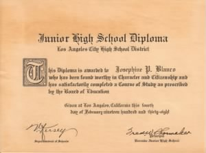 Josephine Pearl Blanco - Junior High School Diploma