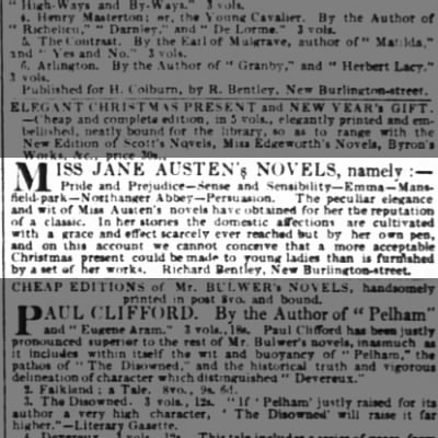 """1833 advertise emnt for Jane Austen's novels for """"young ladies"""""""