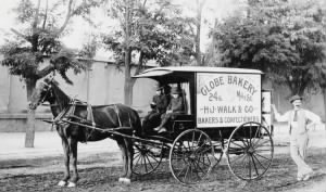 1892 approx FH-HJW Henry Age 37 & 2 Sons on Globe Bakery Wagon circa 1892.jpg
