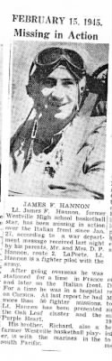 Lt James Hannon, Fighter Pilot/ KIA 27 Jan.1945 Over Italy
