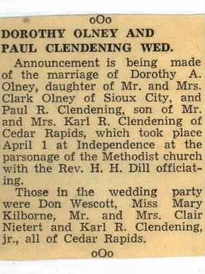 Clendening, Olney Wedding Announcement