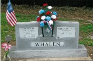 Headstone of James 'Jim' Hubert Whalen & Margarette O'Linda Cambron *Layton Whalen