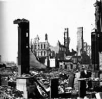 After the great Chicago fire of 1871, corner of Dearborn and Monroe Streets