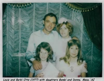 Louie and Barbi Otto wedding 1977 with daughers Donna and Bambi Foster. - Fold3.com