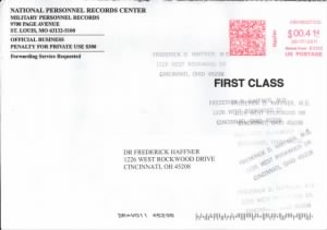Envelope postmarked 17 Jun 2011 from Natl. Personnel Records Center to F.D. Haffner