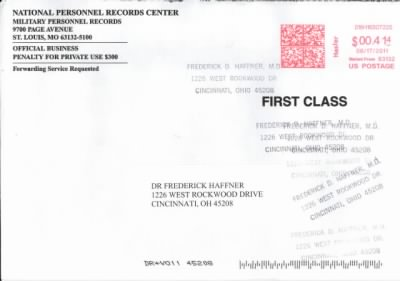 Envelope postmarked 17 Jun 2011 from Natl. Personnel Records Center to F.D. Haffner - Fold3.com