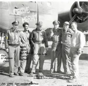 "Lt John ""JACK"" Henry, 3rd from Left, GROOVE HERMIT, Flight over Atlantic/Cross Photo"