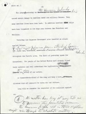 Franklin Roosevelt 'Day of Infamy Speech' draft - pg 2