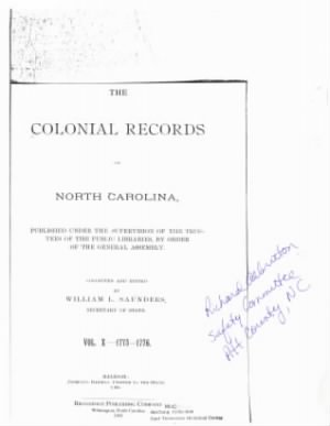 Colonial Records of North Carolina by William Saunders