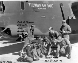 "CREW of the B-24 ""Thuinder Bay ""Babe"" Jack became a POW/kept a Diary"
