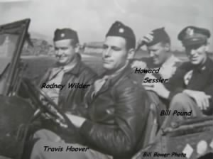 310th Bomb Group (Raider) Officers in North Africa. Sessler far right./Bower Photo