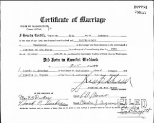 Certificate of Marriage for Lowell Brosius and Claudia Ingram