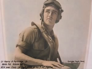 AAC Lt Harry Partridge, Jr. KIA over Italy in his P-47 FIGHTER
