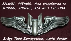 TODD Flew Combat- 321st Bomb Group (445thBS) then 310th Bomb Group (379thBS)