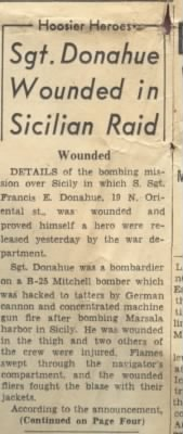Sgt. Donahue Wounded in Sicilian Raid