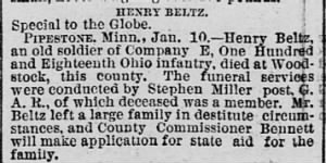 St. Paul daily globe., January 11, 1889, Page 8 OBIT Henry Beltz