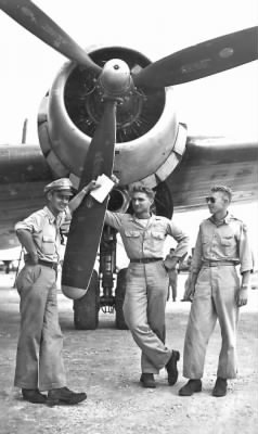 The crew and their plane on Guam
