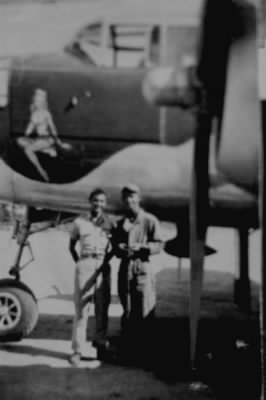 321stBG,447thBS, Lt Forrest Nettles and friend with KATIE, one of his B-25 Combat Ships,1944