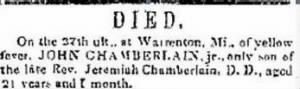John Chamberlain 1853 Yellow Fever Death.JPG
