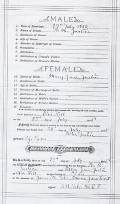 William and Mary Justice, Marriage Certificate