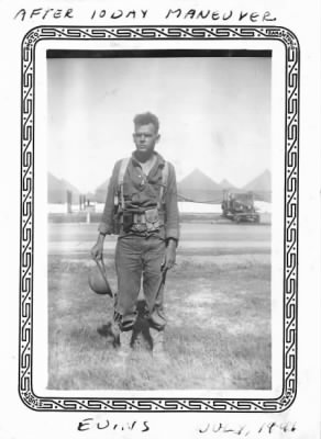 Sgt. Robert Evins after 10 day maneuver in Louisiana - Camp Bowie - July 1941.