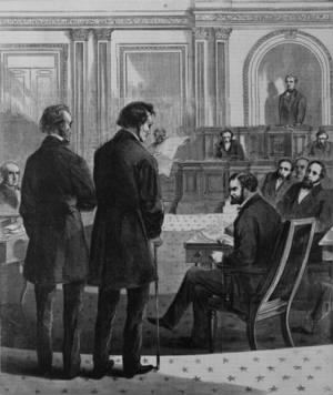 Stevens (right) and John A. Bingham formally notify the Senate of Johnson's impeachment. From Harper's Weekly..jpg
