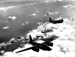 322nd Bomb Group in formation over German-occupied France