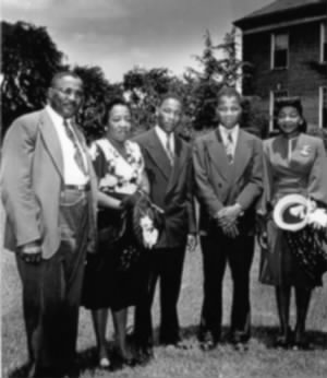 Daddy King and his wife Alberta, sons M.L. and A.D., and daughter Willie Christine, celebrating M.L.'s college graduation (June 8, 1948).jpg
