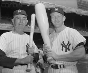 Frank Home Run Baker and Mickey Mantle having some fun at Old Timer's Day.jpg